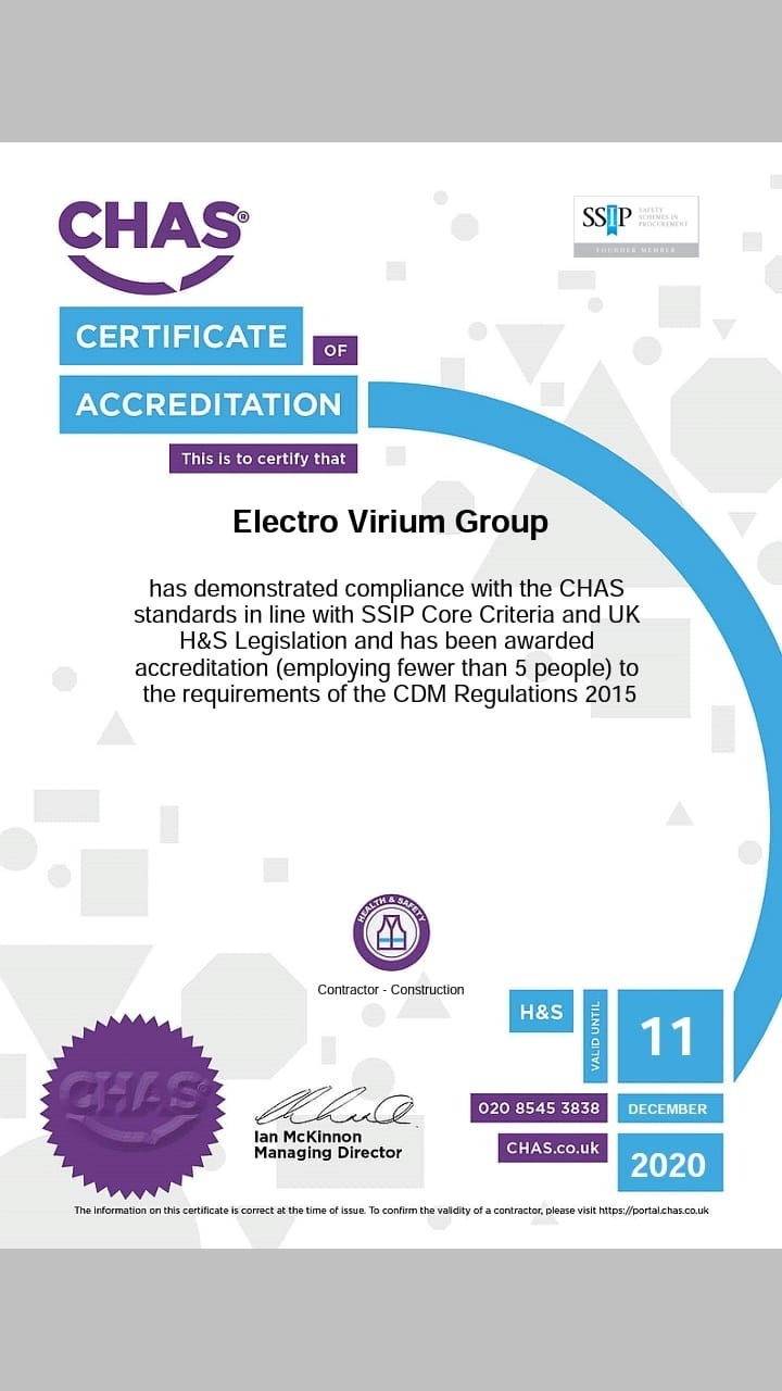 Certificate of Accreditation Electrovirium Group